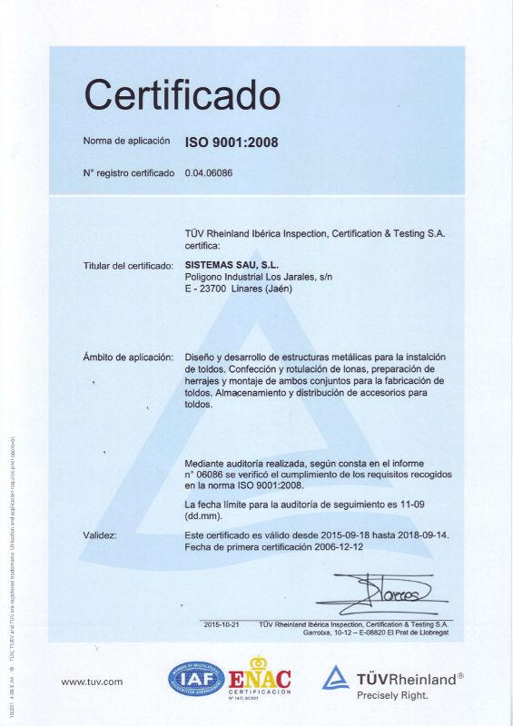 Certificado ISO 9001 Sistemas SAU 2018